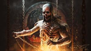 Фото Mortal Kombat Нежить Скелет Цепь Scorpion Игры Фэнтези