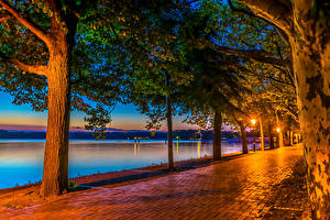 Обои Германия Берлин Побережье Реки HDR Ночь Уличные фонари Аллея Деревья Природа фото