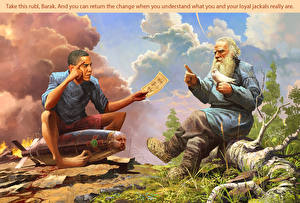 Картинки Барак Хуссейн Обама Мужчина 2 Негры Президент Barak Obama and Lev Tolstoy Юмор