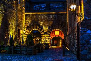 Фотография Берлин Германия HDR Улица Ночь Уличные фонари город
