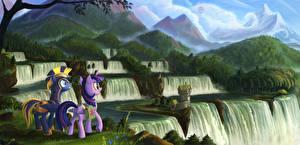 Фотография My Little Pony Лошади Водопады Горы Двое Мультики