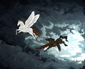 Фотографии Пегас Волшебные животные Лошади Два Крылья Облака Фантастика