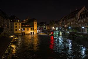Фото Франция Дома Реки Страсбург Ночь Уличные фонари