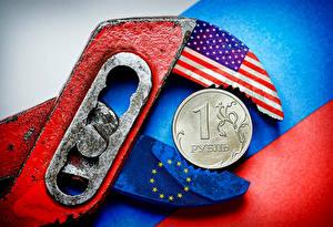 Фотографии Рубли Монеты США Россия Оригинальные Флаг Economic sanctions