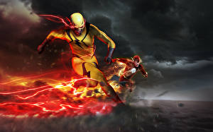 Картинки Герои комиксов Флэш телесериал 2014 Флэш герои Бег Fan ART Reverse-Flash Eobard Thawne Barry Allen Flash dc comics Фильмы Фэнтези
