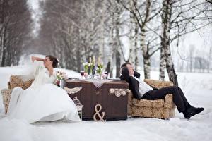 Картинки Зимние Влюбленные пары Мужчины Снеге Кресло Две Жениха Деревьев Невеста Платье девушка