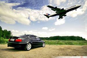 Фотографии Самолеты Пассажирские Самолеты Небо Облака Автомобили Автомобили