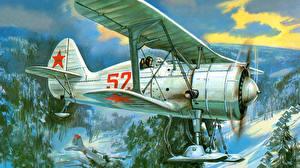 Фотографии Самолеты Рисованные Polikarpov I-15 bis Авиация