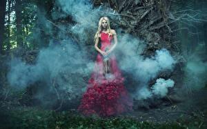 Картинка Скрипки Блондинка Платье Дым молодые женщины