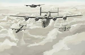 Обои Самолеты Рисованные Бомбардировщик Облака