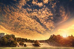 Фотографии Реки Водопады Небо Пейзаж Облака Природа