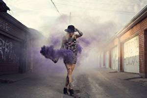 Обои Дым Шляпа Татуировки Purple Stuff Девушки фото