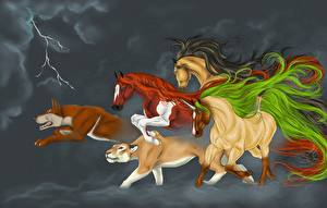 Картинки Лошади Собаки Лев Единороги Молнии Фантастика