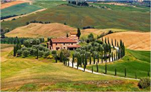 Картинки Италия Поля Тоскана Природа