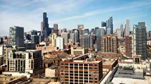 Фотография Небоскребы Штаты Здания Чикаго город Города