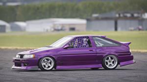 Картинки Тойота Фиолетовые Сбоку corolla Автомобили