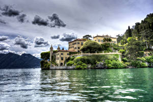 Фотография Италия Озеро Дома HDR Облака Lenno Города Природа