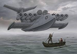 Картинка Самолеты Рисованные Вода Ekranoplan