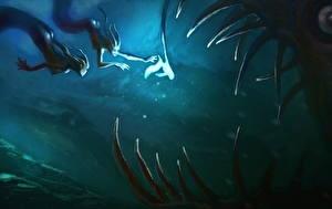 Картинка Подводный мир Сверхъестественные существа Вдвоем Зубы Фэнтези