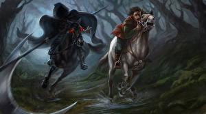 Фото Демоны Лошади Образ смерти Двое Косы Фэнтези