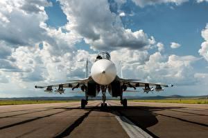 Обои Самолеты Истребители Небо Су-30 Облака Авиация фото