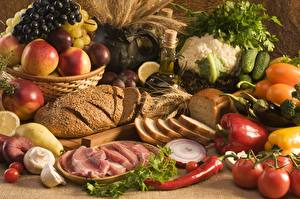 Обои Хлеб Овощи Фрукты Натюрморт Еда