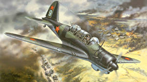 Картинка Самолеты Рисованные Истребители Sukhoi Su-2 ближний разведчик