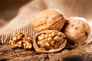 Фотография Орехи Крупным планом Грецкий орех Еда