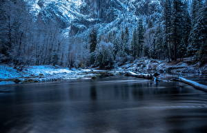 Обои США Парки Зимние Леса Озеро Йосемити Природа