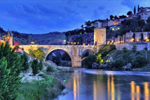 Фотография Испания Дома Реки Мосты Толедо Ночь Уличные фонари