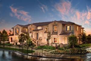 Обои Дома Ландшафт Небо Особняк Дизайн Забор Города фото
