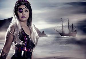Фотография Пираты Корабли Блондинка Повязка на глаз Косплей Девушки