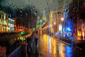Фотографии Санкт-Петербург Россия Дождь Улица Зонт Города Девушки