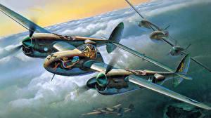 Картинки Самолеты Рисованные P-38J  lightning