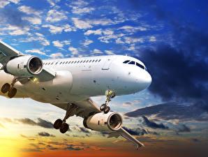 Обои Самолеты Пассажирские Самолеты Небо Облака Авиация фото