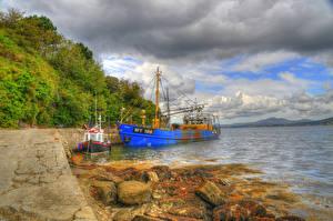 Обои Ирландия Побережье Причалы Катера HDR Облака Fahan Donegal Природа фото