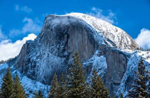 Фотография Штаты Парки Горы Зимние Йосемити Скале Природа
