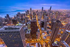 Картинка Штаты Небоскребы Дома Чикаго город Illinois Города