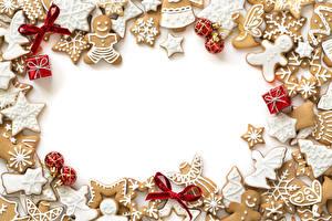 Картинка Праздники Рождество Печенье Шарики Подарки Шаблон поздравительной открытки Еда