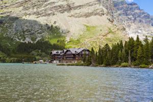 Фото США Парки Озеро Леса Гостиница Swiftcurrent Lake Glacier National Park Montana Природа