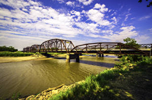 Фотография США Река Мост Небо HDRI Облака Oklahoma Природа