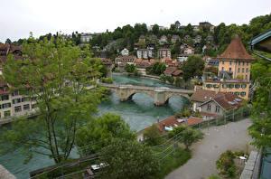 Картинка Швейцария Мост Дома Берн