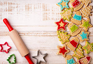 Картинки Праздники Новый год Печенье Звезды Новогодняя ёлка Пища