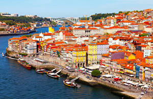 Фотография Португалия Здания Реки Мосты Причалы Корабли Портус Кале