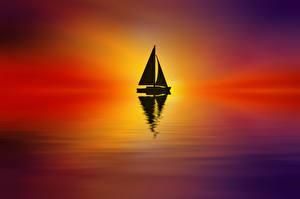 Картинки Парусные Лодки Озеро Силуэт Josep Sumalla Природа