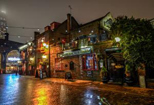 Обои Великобритания Дома Лондоне Улиц Ночь Уличные фонари