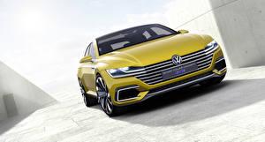 Картинки Volkswagen Спереди Желтая 2015 Sport Coupe Concept GTE Автомобили 3D_Графика
