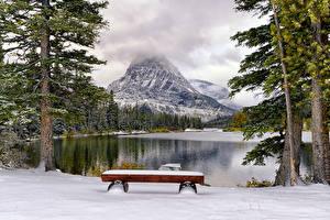 Фото Горы Озеро Парки Пейзаж Скамейка Дерево Природа