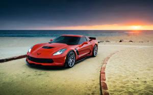 Обои Chevrolet Море Рассветы и закаты Пляж Горизонт Corvette Z06 Авто