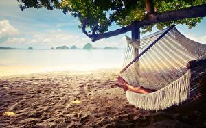 Фото Море Лето Пляжа Ног Песке Гамаке hammock sand resting relaxing Природа